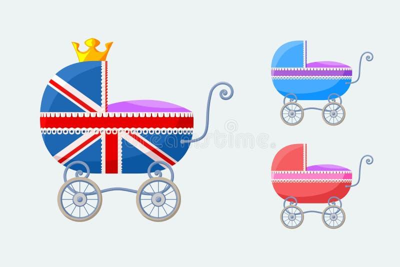 Carros de bebé ingleses - pequeño sistema ilustración del vector
