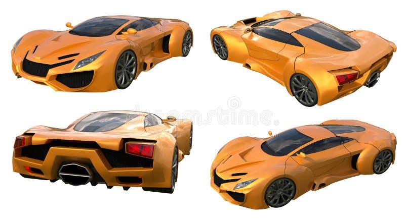Carros de competência alaranjados conceptuais ajustados ilustração 3D ilustração do vetor