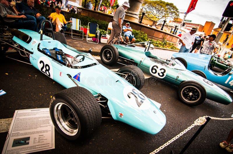 Carros de competência do vintage na feira automóvel clássica no dia 2013 de Austrália fotografia de stock