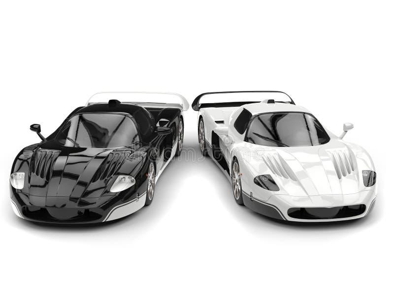 Carros de corridas preto e branco do conceito com detalhes invertidos da cor ilustração royalty free