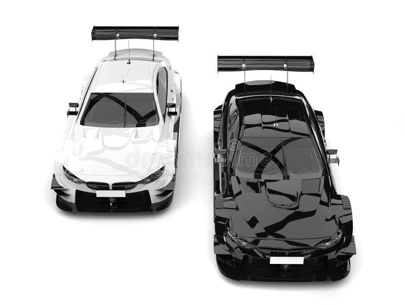 Carros de corridas super preto e branco - a parte superior vê para baixo ilustração royalty free