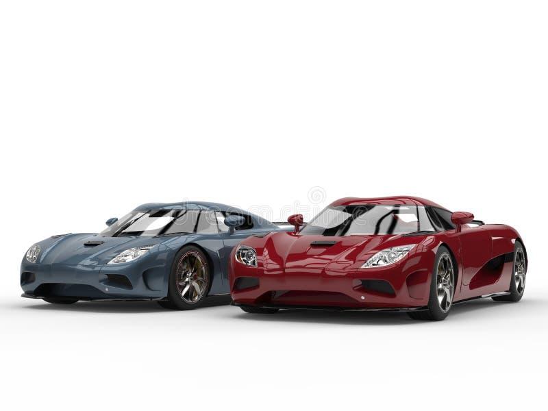Carros de esportes frescos do conceito em cores do vermelho de cereja metálico e de azul de aço ilustração royalty free