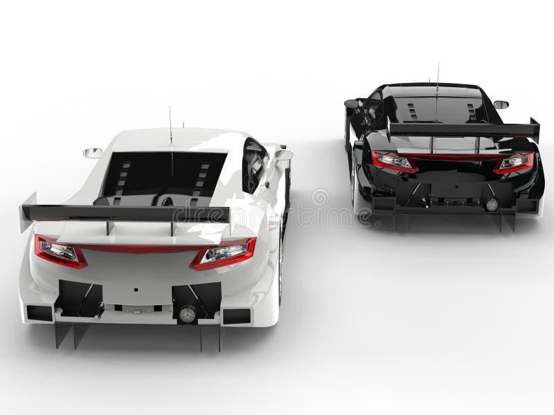 Carros de esportes impressionantes preto e branco do conceito - vista traseira ilustração stock