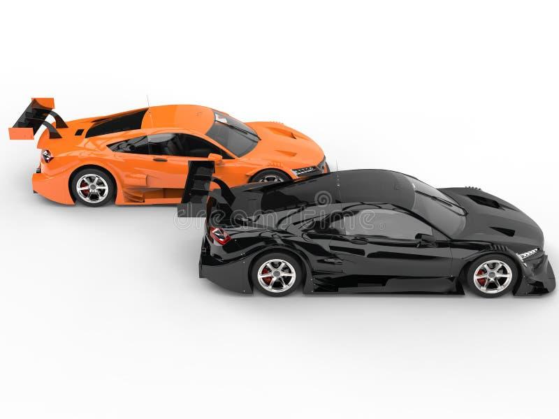Carros de esportes impressionantes pretos e alaranjados do conceito ilustração royalty free