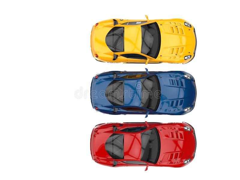 Carros de esportes modernos em vermelho, no azul e no amarelo ilustração do vetor