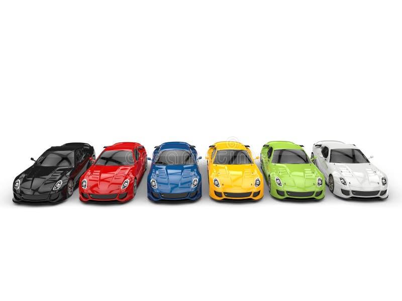 Carros de esportes modernos impressionantes em várias cores ilustração stock