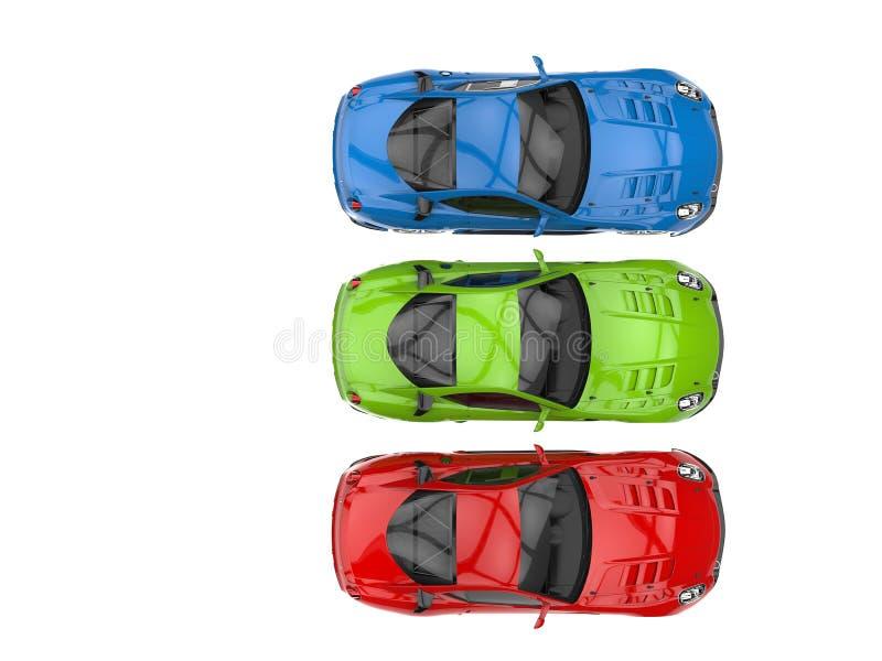 Carros de esportes modernos no vermelho, no verde e no azul ilustração do vetor