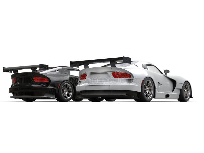 Carros de esportes modernos preto e branco - vista traseira ilustração stock