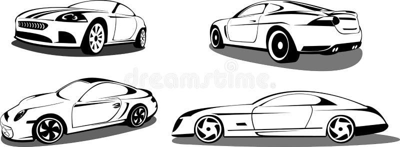 Carros de esportes prestigiosos ilustração royalty free