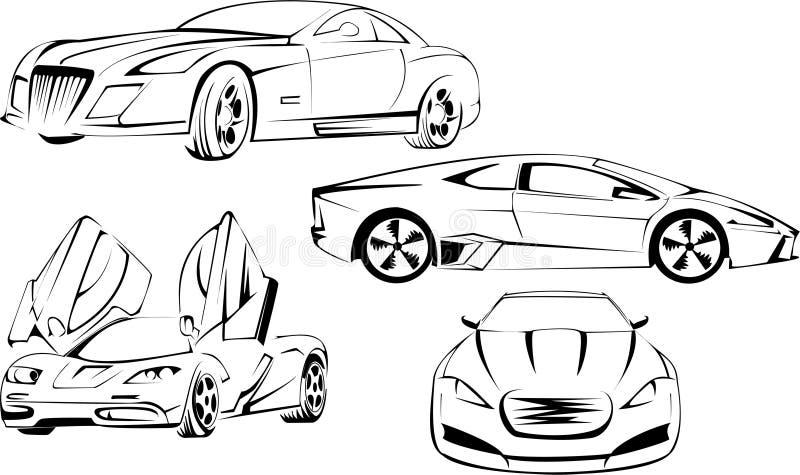 Carros de esportes prestigiosos ilustração do vetor