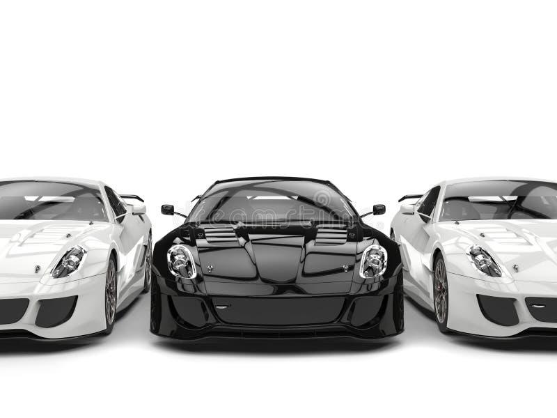 Carros de esportes preto e branco modernos sublimes - de lado a lado ilustração royalty free