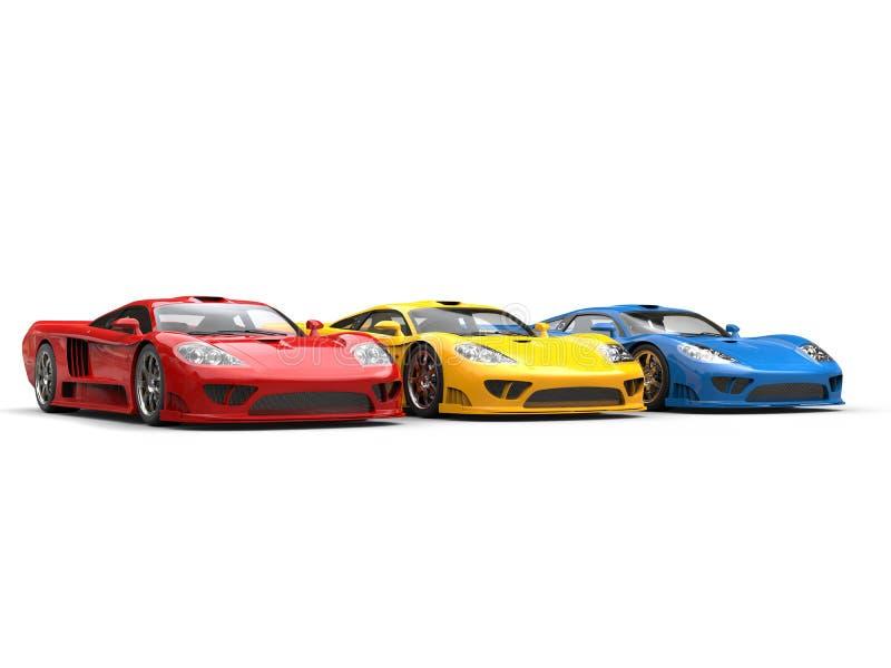 Carros de esportes super modernos em cores preliminares ricas ilustração do vetor