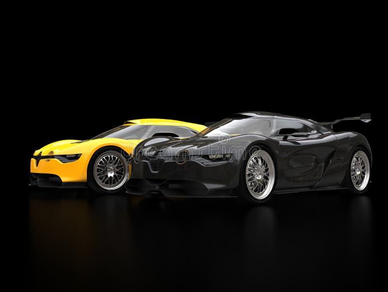 Carros de esportes super pretos e amarelos frescos na sala de exposições preta ilustração stock