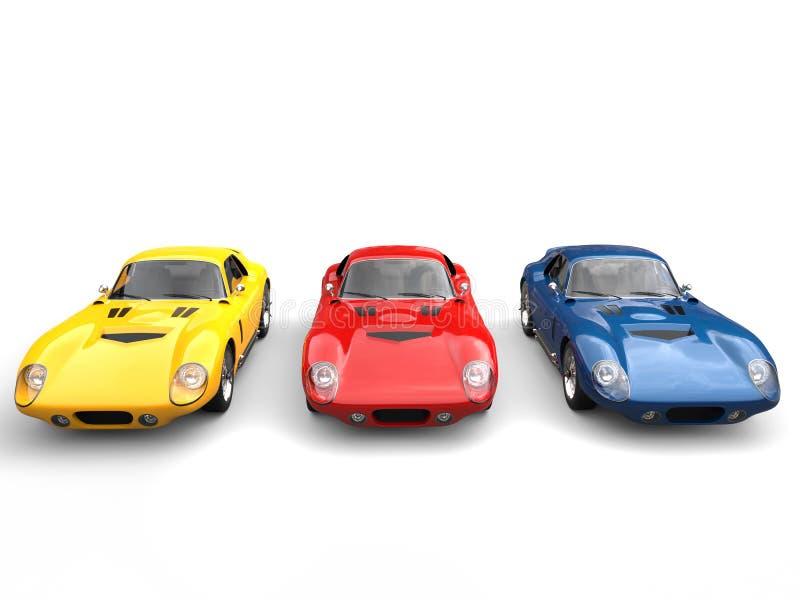 Carros de esportes surpreendentes do vintage - vermelhos, azul e amarelo ilustração stock