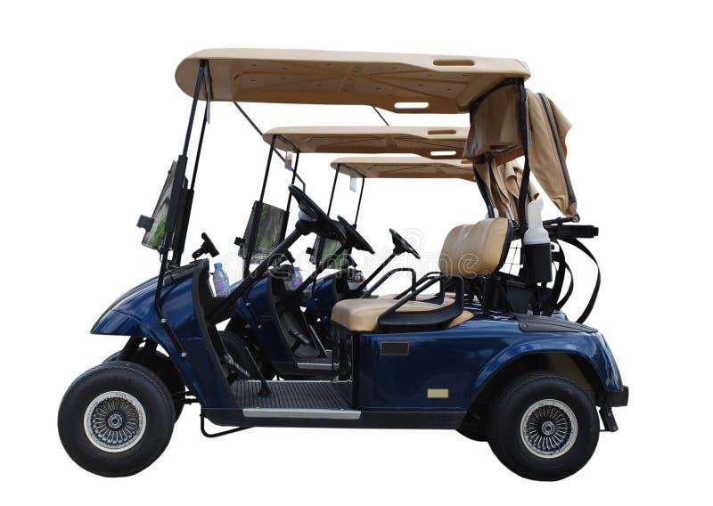 Carros de golfe isolados no fundo branco foto de stock