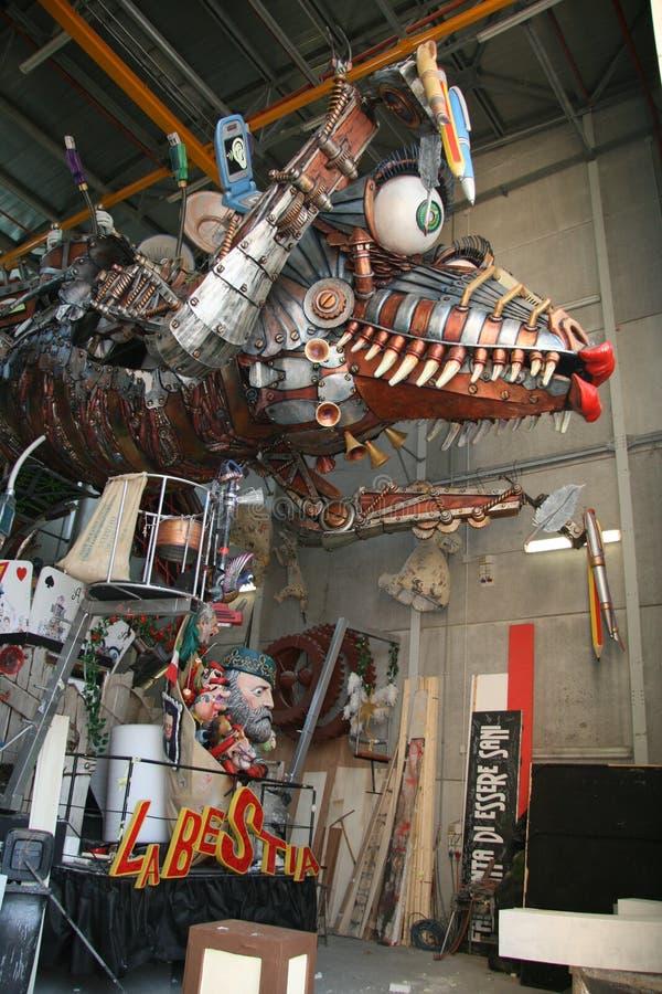 Carros de la alegoría del carnaval de Viareggio imagen de archivo