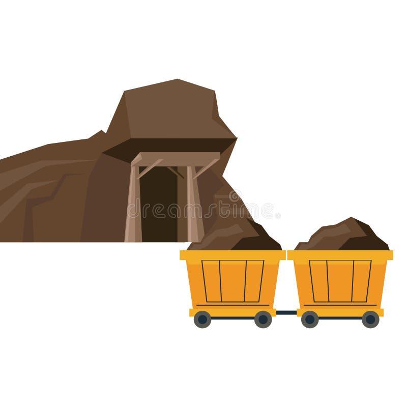 Carros de la avenida y del carro de la explotación minera stock de ilustración