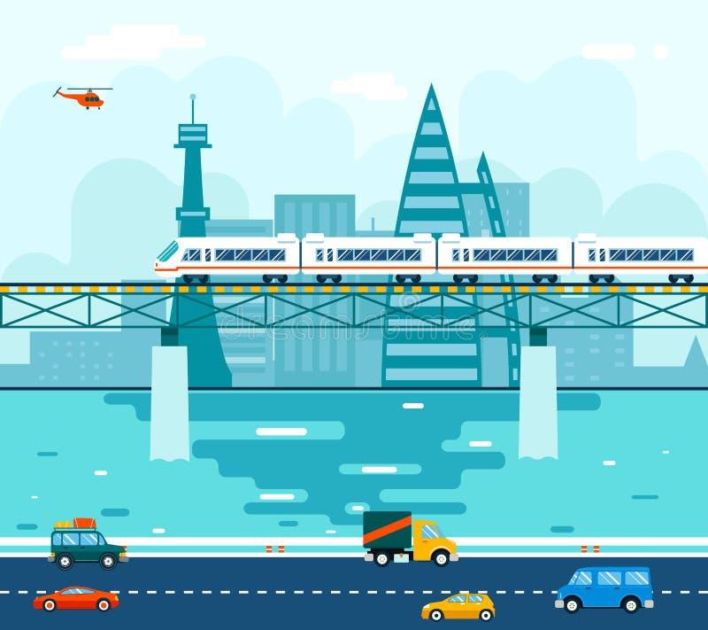 Carros de los coches del camino en el puente sobre transporte de río libre illustration