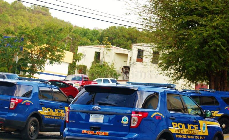 Carros de polícia no croix do st nós Virgin Islands imagens de stock royalty free