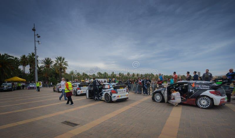 Carros de WRC em Salou, Espanha fotos de stock royalty free