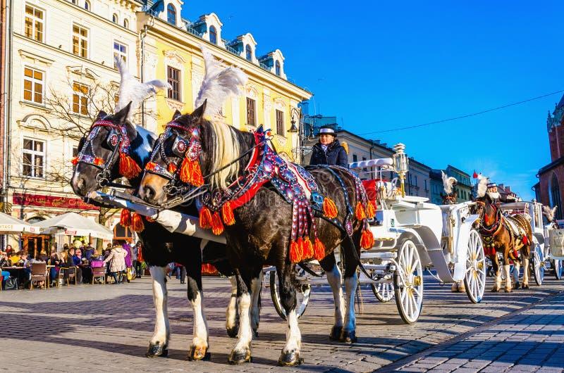 Carros del caballo en la plaza principal Kraków, Polonia imagen de archivo libre de regalías