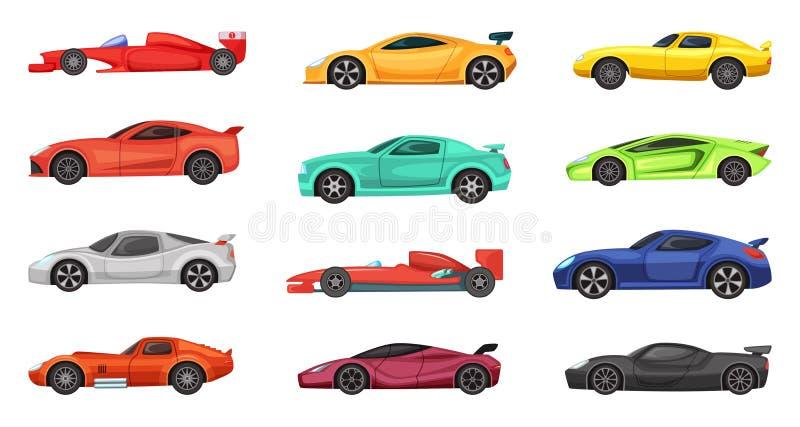 Carros desportivos diferentes isolados no branco Ilustrações do vetor dos pilotos na estrada ilustração stock