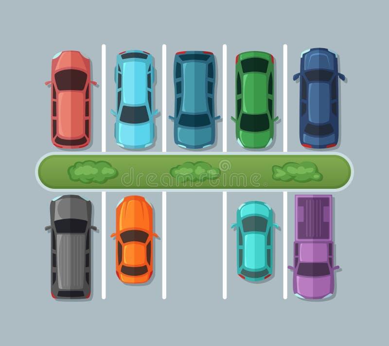 Carros do estacionamento da vista superior no asfalto no mapa urbano Automóveis na garagem Imagens do vetor ilustração royalty free