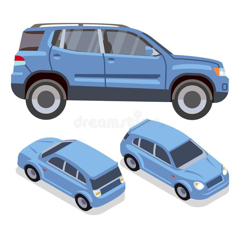 Carros do liso-estilo do vetor em vistas diferentes Suv azul ilustração stock