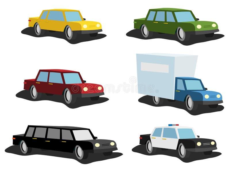 Carros dos desenhos animados ajustados ilustração do vetor