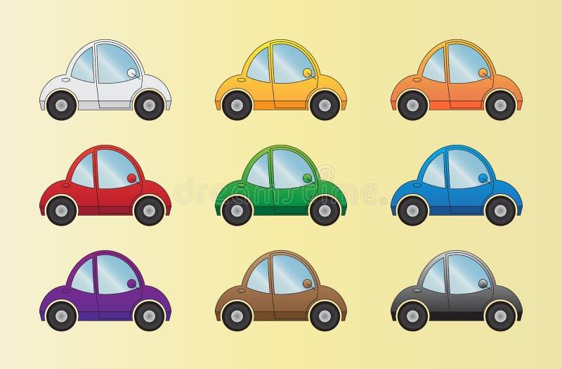 Carros dos desenhos animados ajustados ilustração stock