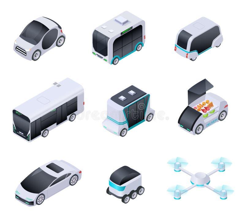 Carros Driverless Veículos espertos futuros Transporte desvirilizado da cidade, caminhão autônomo e zangão Vetor isométrico isola ilustração do vetor