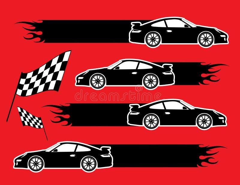 Carros e bandeiras ilustração do vetor