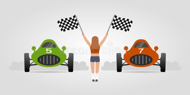 Carros e menina de competência retros com bandeiras da raça ilustração do vetor