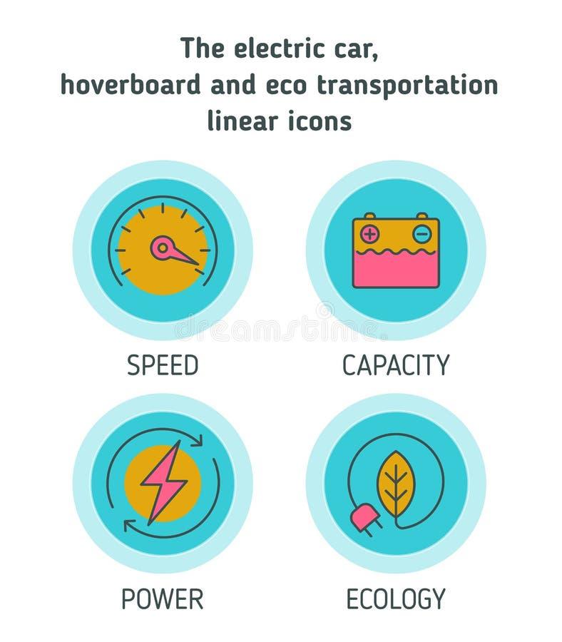 Carros elétricos, hoverboard, grupo do ícone do conceito do transporte do eco ilustração royalty free