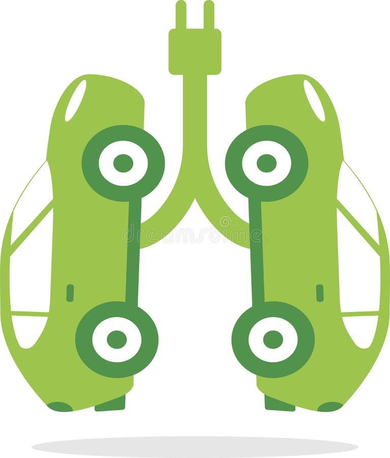 Carros elétricos que simulam os pulmões verdes saudáveis ilustração royalty free