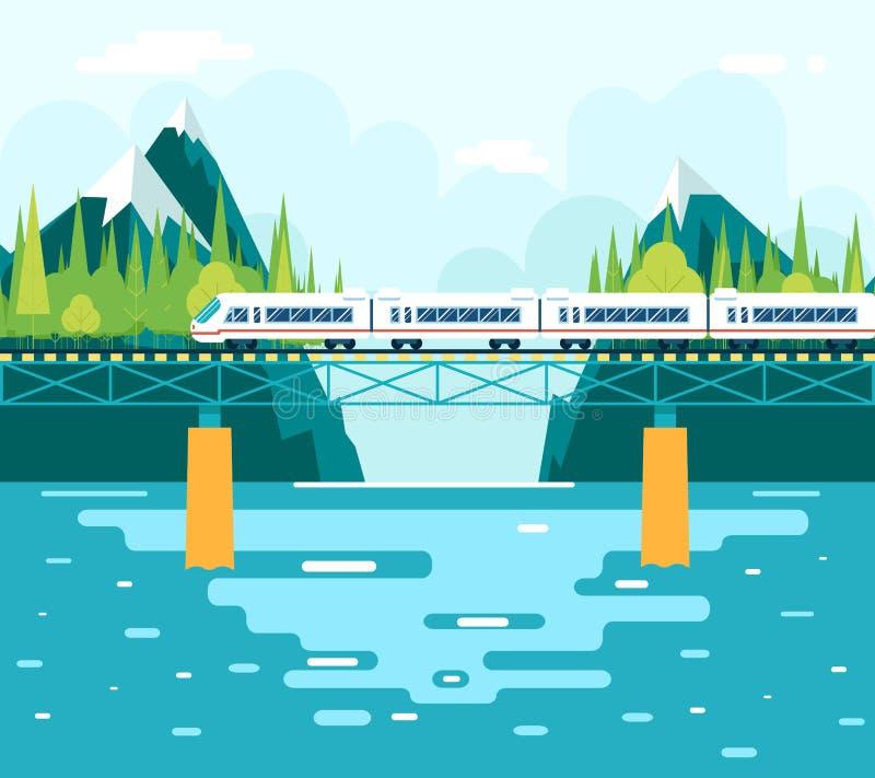 Carros en el puente sobre el turismo y el viaje del río ilustración del vector