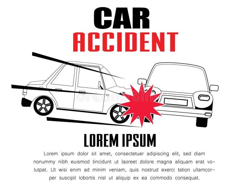 Carros envolvidos em uma destruição do carro ilustração stock