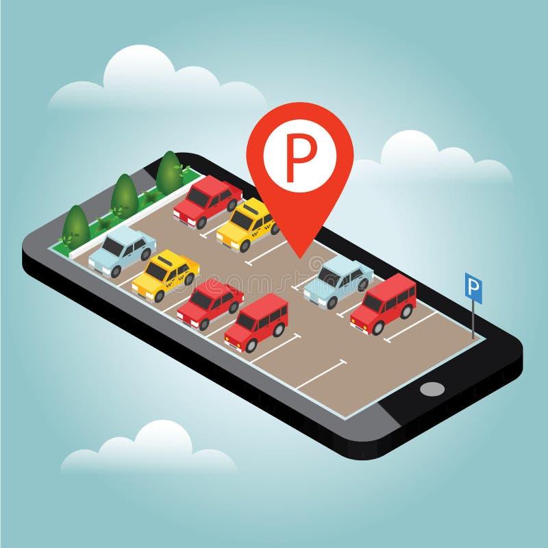 Carros isométricos no estacionamento do carro Pesquisa móvel Procurando o estacionamento Cidade 3d urbana isométrica lisa infogra ilustração stock