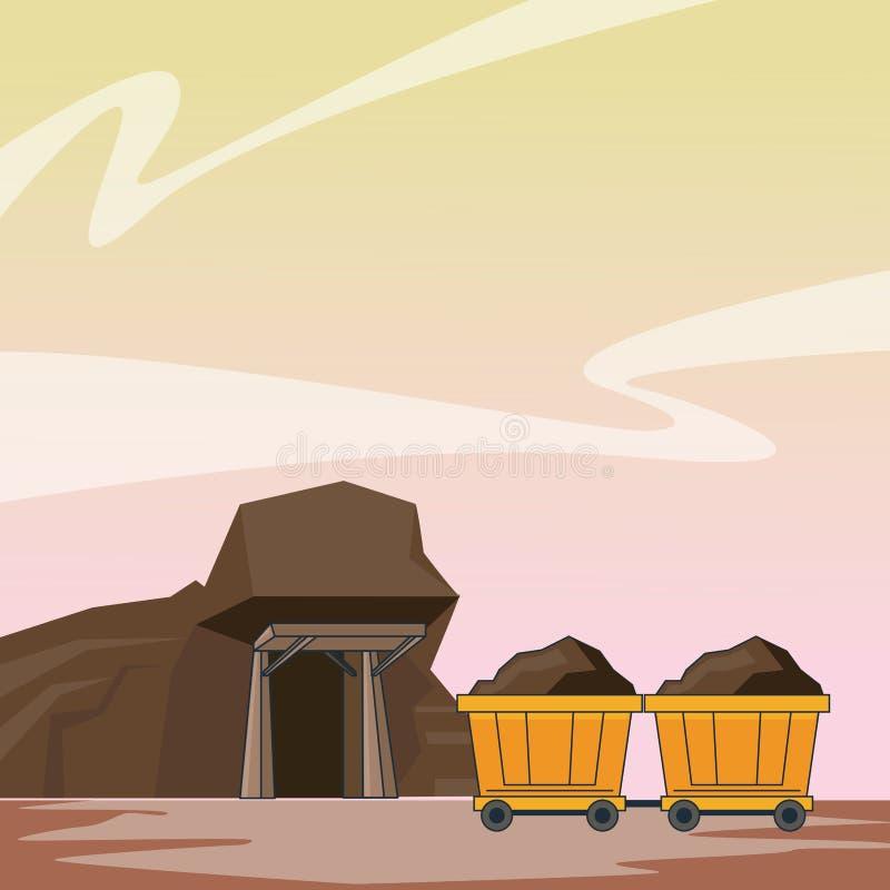 Carros mineros de la cueva y del carro stock de ilustración