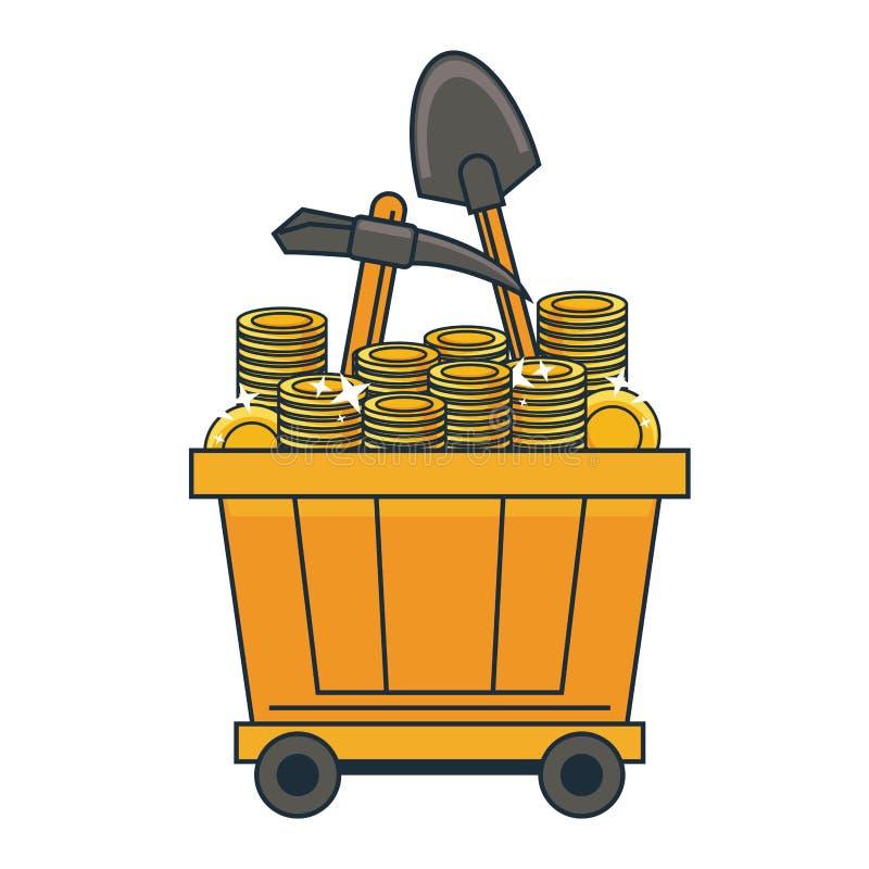 Carros mineros del carro con las monedas de oro libre illustration