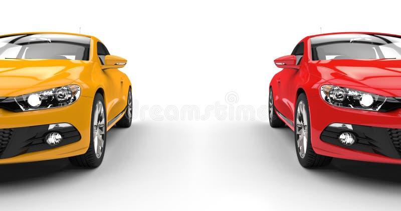 Carros modernos de lado a lado ilustração do vetor