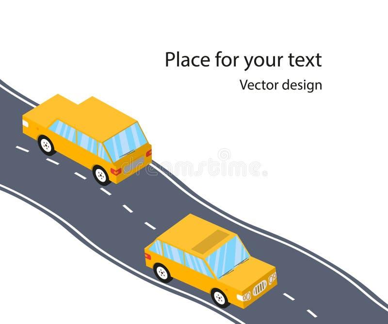 Carros na estrada, a estrada, estilo 3D isométrico liso Viagem da família Ilustração do vetor com espaço para o texto ilustração stock