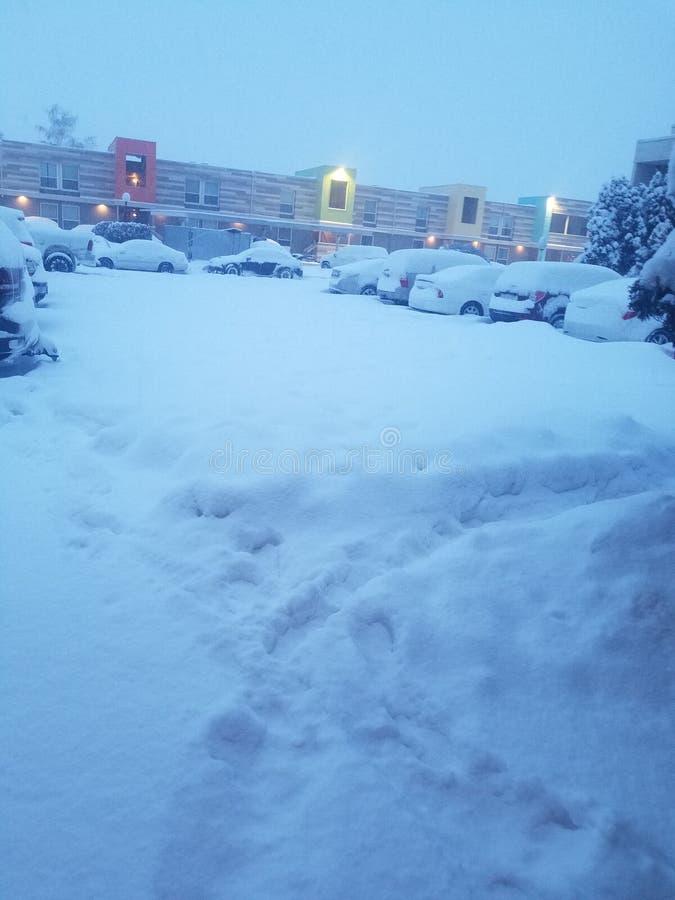 carros nevados no parque de estacionamento e nos prédios de apartamentos fotografia de stock royalty free