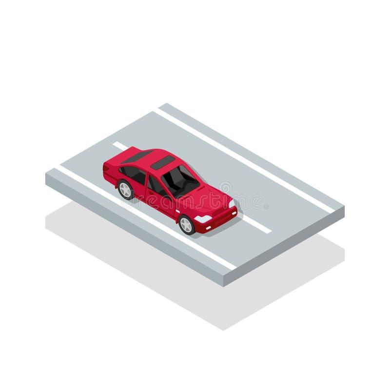 Carros no ícone isométrico da estrada Automóvel vermelho ilustração royalty free