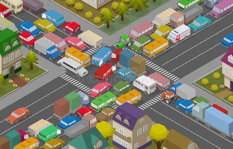Carros no asfalto Carros e casas isométricos para a ilustração da estrada ocupada ilustração do vetor