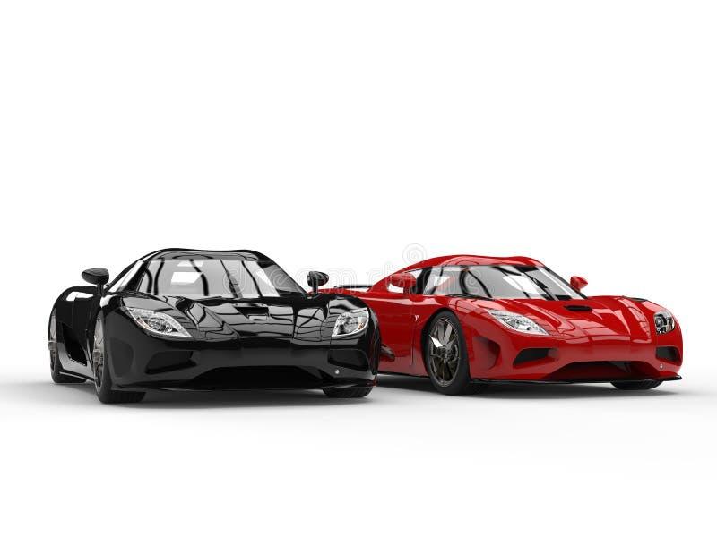 Carros pretos e vermelhos novos brilhantes do conceito do esporte ilustração stock