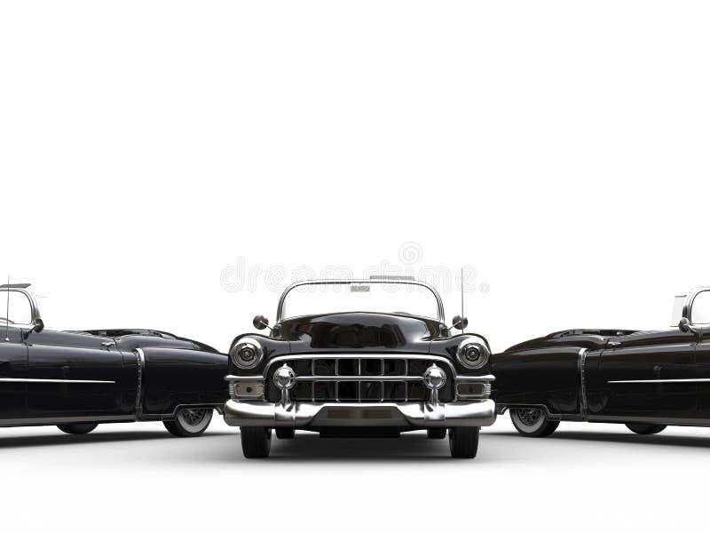 Carros pretos impressionantes do vintage - tiro do close up da vista dianteira ilustração do vetor