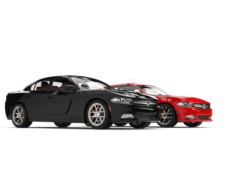 Carros rápidos modernos vermelhos e pretos brilhantes ilustração do vetor