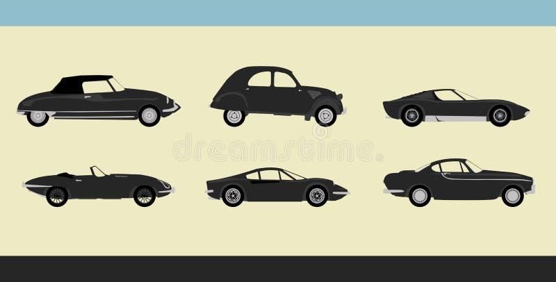 Carros retros ilustração royalty free