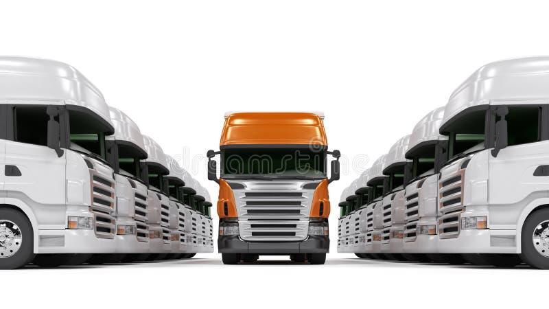 Carros rojos pesados aislados en blanco stock de ilustración
